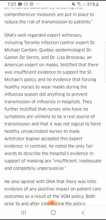 Illogical Mask Policies LEGAL PRECEDENCE - Ontario Nurses Association
