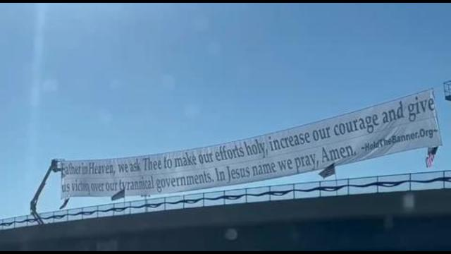 The Utah patriots put up this giant banner over I-15 in Northern Utah